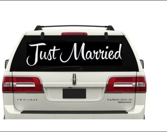 Just Married Car Decal #6 Vinyl Car Window Decal- Just Married Sign