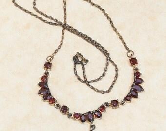 Vintage Gold tone Garnet Necklace