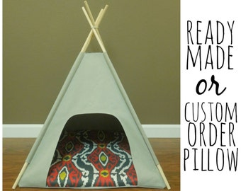 """Cat/Dog Teepee Pet Tent- Small 24"""" base- Gray Canvas - PICK YOUR PILLOW - Ready Made or Custom Order it - Tenthouse Suite by Vintage Kandy"""