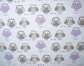 OWL cotton Fabric white pale purple brown Owls Cotton Fabric Kids Fabric Europe Design Kids Textile