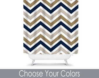 Shower Curtain Monogram CUSTOM You Choose Colors Navy Gold Beige Tan Chevron