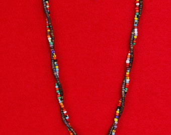 Double Beaded Necklace with Peace Charm