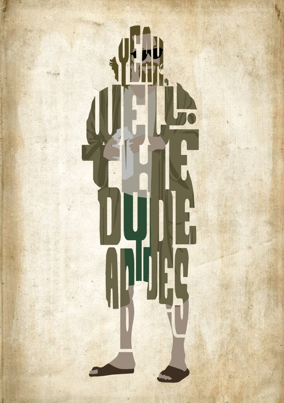le mec le big lebowski poster affiche de typographie. Black Bedroom Furniture Sets. Home Design Ideas