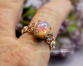 Pink Opal Vintage West German 1950's Glass Ring Hand Crafted Wire Wrapped Original Signature Design Fine Jewelry October Birthstone