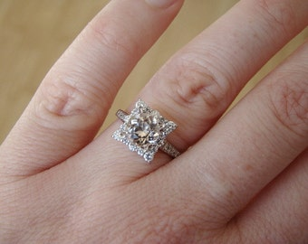 """Morganite and Diamond Engagement Ring Halo Square Vintage Antique Blush Pink Peach 14K White Gold Exclusive """"The Penelope"""""""