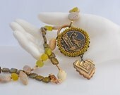 Garden Statement Necklace - Bead Embroidered Necklace - Greens and Cream