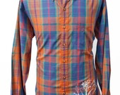 Men's Plaid Shirt / Upcycled Vintage with Screen Printed Tree / Size Large