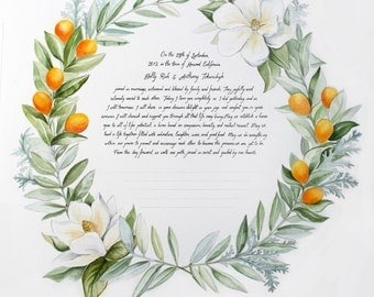 Custom Marriage Certificate - Magnolia Wreath