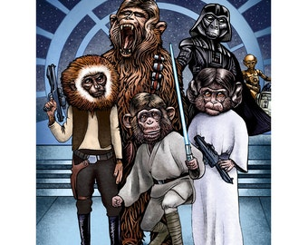 Monkey Wars-  8 x 10 signed print