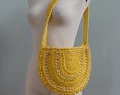 Vintage 80s Purse, Sunshine Yellow Purse, Silver Studs Woven Straw Purse, Summer Purse, Sack Shoulder Bag