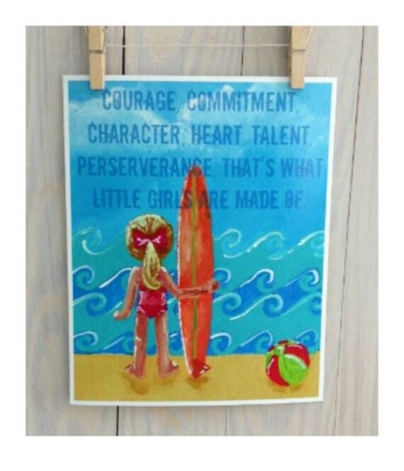 Inspirational surfer girl art print nursery by for Surf nursery ideas