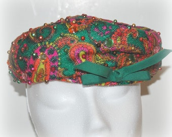 1960s Paisley Beret with Jewels and Green Bow
