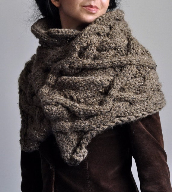 Hand Knit Cable Texture Stole Chunky Knitted Capelet Cape Wrap Winter Shawl Poncho - Portobello Belle in barley brown or CHOOSE your COLOR