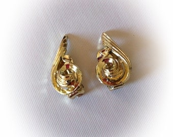 Vintage Spiral Gold Tone Earrings Clip On
