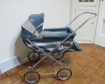 Doll Buggy from 1950s Metal Frame Rubber Top Wheels