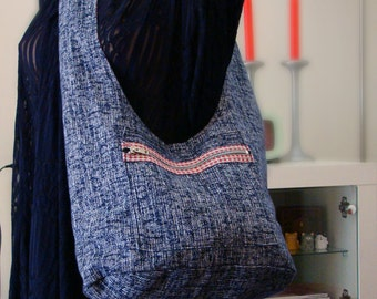 Metro Blue Croshatch Sling Messenger Bag Shoulder Bag