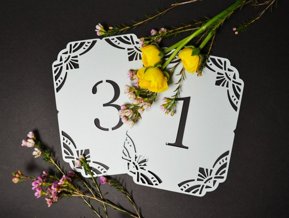 Beautiful deco table numbers custom colours