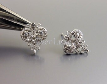 2 Victorian style filigree CZ Cubic Zirconia earrings, earring components / jewelry making supplies 1692-BR (bright silver, 2 pieces)