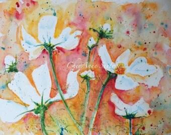 Watercolour art White cosmos flowers tangerine orange summertime fun Watercolor ORIGINAL 9x12 painting
