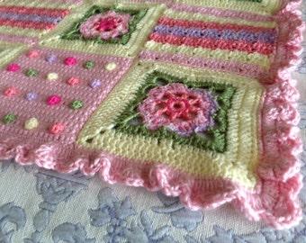 Baby Girl Blanket Floral Fantasy Crochet Stroller Carseat