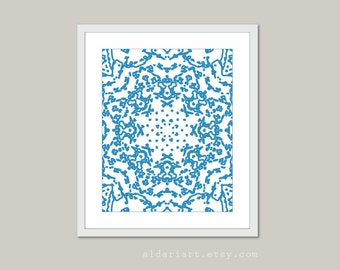 Blue Mandala Digital Art Print Modern Wall Art Abstract Star Circle