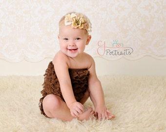 Vintage ivory & toffee silk, shabby chiffon headband- swarovski crystals- lace, satin, newborn headband, flower girl,photo prop, any size