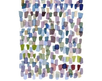 Original watercolor painting, purple rain, Abstract painting, Fine art contemporary modern wall art, kunst