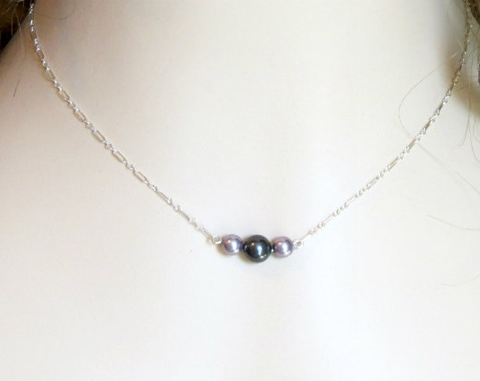 Layering Necklace, Mauve Black Pearls,  Silver Necklace,  Minimalist Jewelry, Fashion