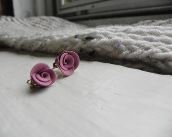 Mauve Rose Earrings