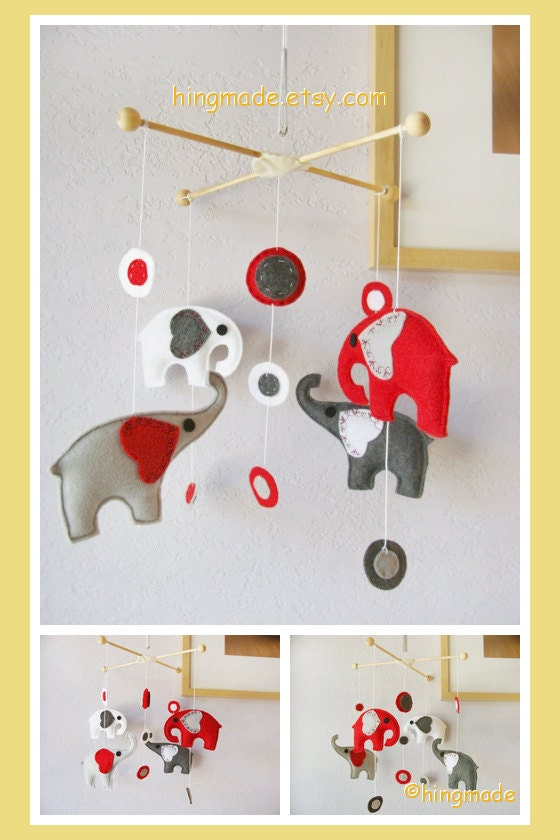 elephants baby mobile nursery mobile modern hanging by. Black Bedroom Furniture Sets. Home Design Ideas