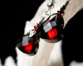 Blood Red & Black Victorian Gothic Earrings, Crimson Red Edwardian Bridal Style Drops, Antique Silver Gunmetal, Titanic Temptations Jewelry