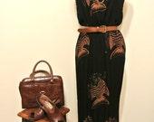 Vintage 90s Fish Print Fringe Tassel Maxi Midi Dress - Spring / Summer / Festival / Boho / Tropical / Resort Wear  - Black Brown - S/M