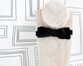 Real black slim bat wing freestyle bow tie