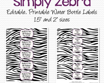 Water Bottle Labels, Black and White, Purple and Zebra Birthday Party Decoration, Shower Decor, Party Favor - Editable, Printable, Instant