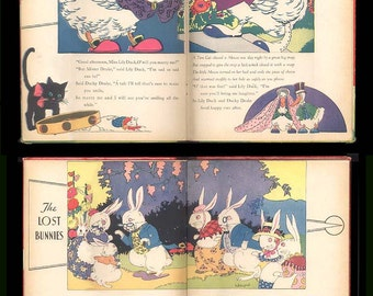 Hildegard Lupprian, Funny Bunnies, Calico Pup, Brunny Bear, Draky Duck 1938 McLoughlin Brothers, Color Illustrations, Vintage Childrens Book