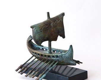 Ancient Greek Ship Bronze Sculpture, Metal Art Sculpture, Museum Quality Art, Greek Sail Boat with Oars, Home Decor, Greece