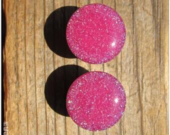 Hot Pink Neon Glitter Plugs - 2g, 0g, 00g, 7/16, 1/2, 9/16, 5/8, 3/4, 7/8, 1 Inch