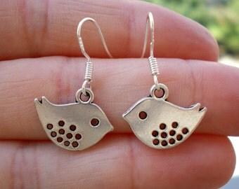 Love Birds Earrings.925 Sterling Silver Ear Hooks.Bird Jewelry.Little Bridesmaid Gifts, sister, mom, girl.