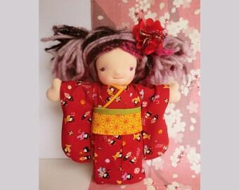 "10"" inch Doll kimono Japanese fabric kimono for Waldorf inspired dolls, waldorf dolls japanese kimono, tenugui doll,  japanese doll yukata"