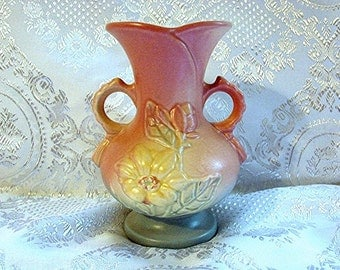 "Hull Vase Double Handled Pink Blue Yellow 6-1/2"" tall  Vintage Hull Pottery Vase"