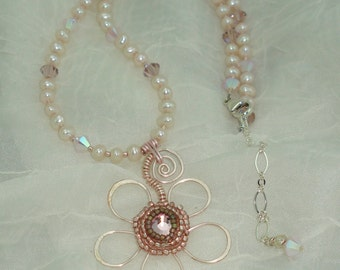 Wire Flower Pendant Pink Pearl Necklace Earrings Included