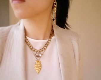 Jewelry set, Raw Brass Arrowhead and Crystal Bib Necklace, Statement necklace, Matching earrings
