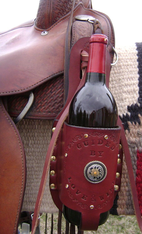 Handmade Custom Designed Leather Wine Bottle Holder