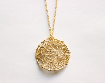 Gold Necklace - Long Necklace - Circle Necklace - Matte Gold Mesh Circle Pendant on Matte Gold Chain