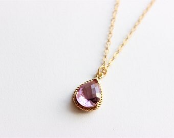"Gold Necklace - Stone Necklace - Long Necklace - 24"" - Lavender Amethyst Glass Stone Pendant on Matte Gold Chain Necklace"