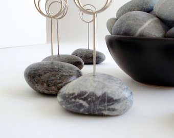 Shades of Gray Small Beach Stone Event Place Card Holders