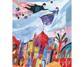 Illustration art print Above the old town16.54 in by 11.69 inch (A3 size)