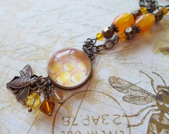 """Honeybee & Honeycomb Necklace Bumble Bee Jewelry Bumblebee """"SWEETER THAN The HONEYCOMB"""" Gift Strength for the Journey Strength4theJourney"""
