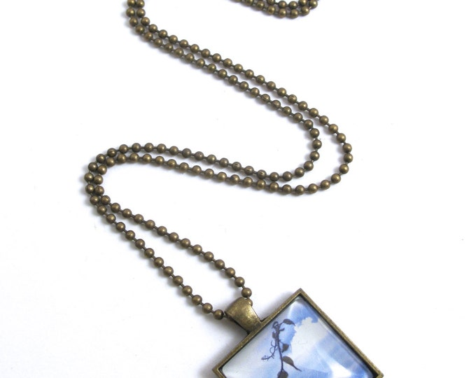 "Simplicity, A Branch Across the Sky Photograph in a Glass Cabochon Antique Brass Square Pendant on an Antique Brass Ball Chain 16""-24"""