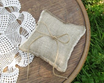 Burlap Rustic Ring Pillow Wedding